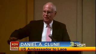U.S. Ambassador to Laos, Daniel A. Clune give a speech on March 17, 2015